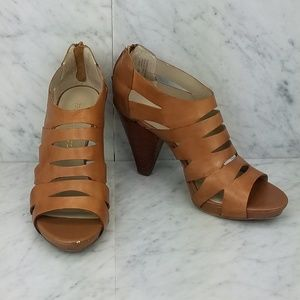 Franco Sarto - Tan Caged Open Toe Heeled Sandals